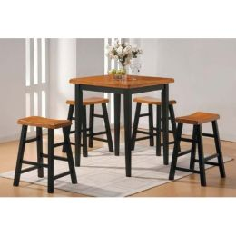 5 Piece Counter Dining Set in Oak/Black