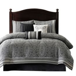 King size 7-Piece Comforter Set with Damask Pattern in Black White Gray