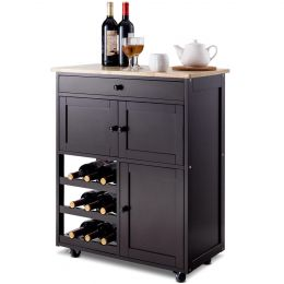 Brown Wood Mobile Kitchen Island Cart Cabinet with Wine Rack and Drawer