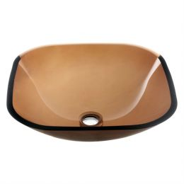 Modern Tempered Glass Bathroom Vessel Sink in Amber Brown Color