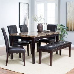 Traditional 6-Piece Dining Set with Faux Marble Top Table 4 Chairs and Bench
