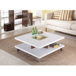 Modern Square Coffee Table in White Wood Finish with Bottom Shelf