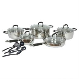 15-Piece Stainless Steel Cookware Set with Nylon Utensils