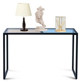 Iron Frame Console Sofa Table with Blue and Tan Tempered Glass Top