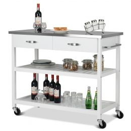 White Wood Modern Kitchen Island Cart with Stainless Steel Top