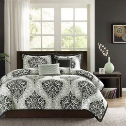comfTwin / Twin XL 4-Piece Black White Damask Print Comforter Set