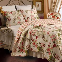 Twin size 100% Cotton Quilt Set with Sham in Pink Floral Butterfly