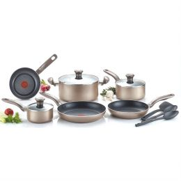 12-Piece Nonstick Dishwasher & Oven Safe Cookware Set  in Bronze