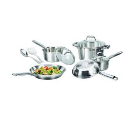 10-Piece Stainless Steel Dishwasher Safe Cookware Set with Glass Lids