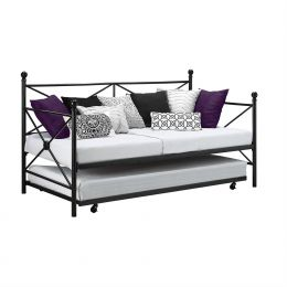 Twin size Contemporary Daybed and Trundle Set in Black Metal Finish